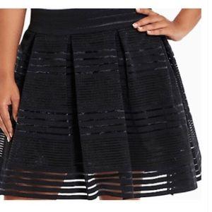 Torrid Striped Sheer Flared Black Skirt - 1X